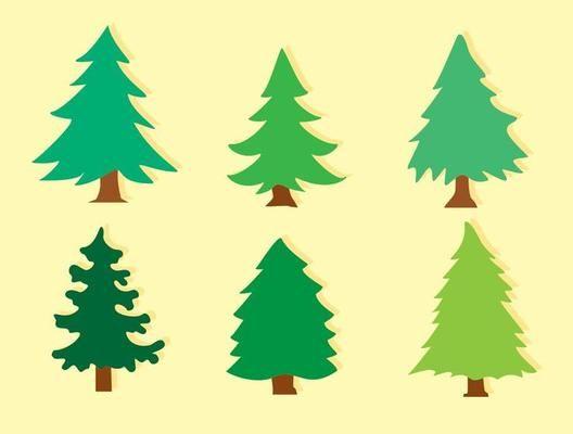 Flat Cedar Trees Vectors