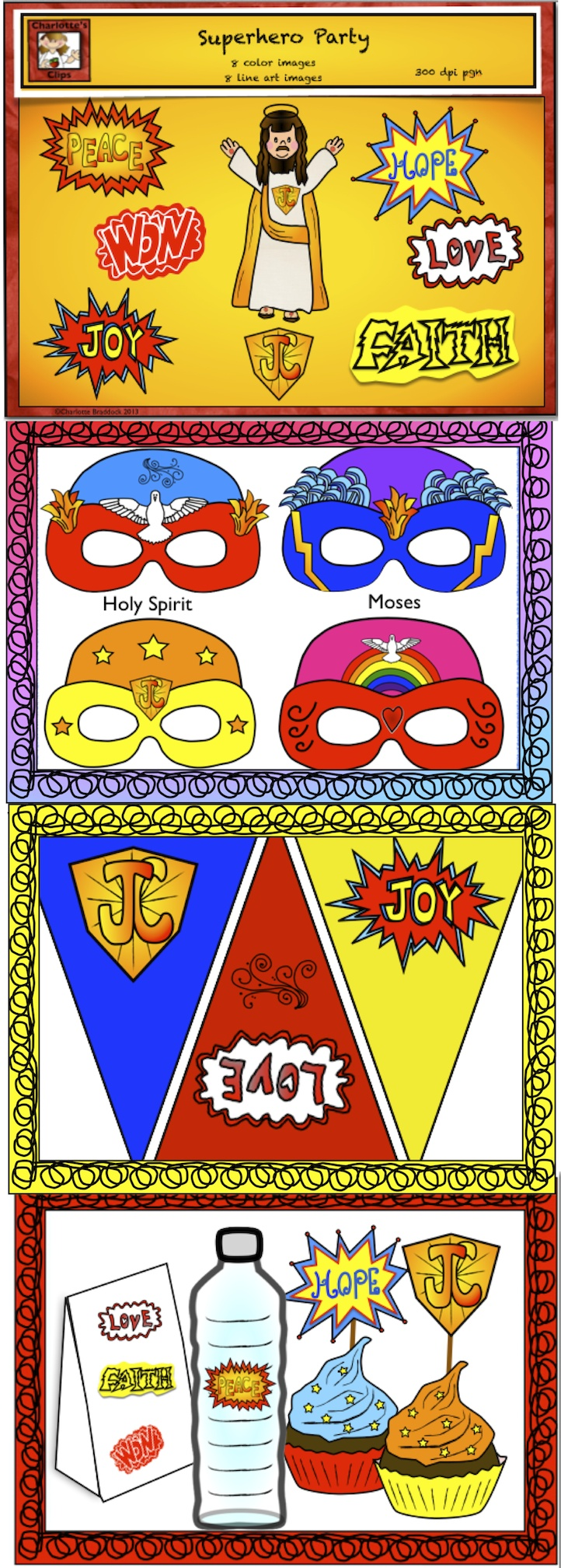 Superhero party with a twist!!! Free Superhero clipart, Free Superhero mask templates, Song, Dance, and party ideas.  Great for End of the year parties and Vacation Bible Camps, Sunday School, Church Activities, and Parochial Schools.  Created By: Charlotte's Clips
