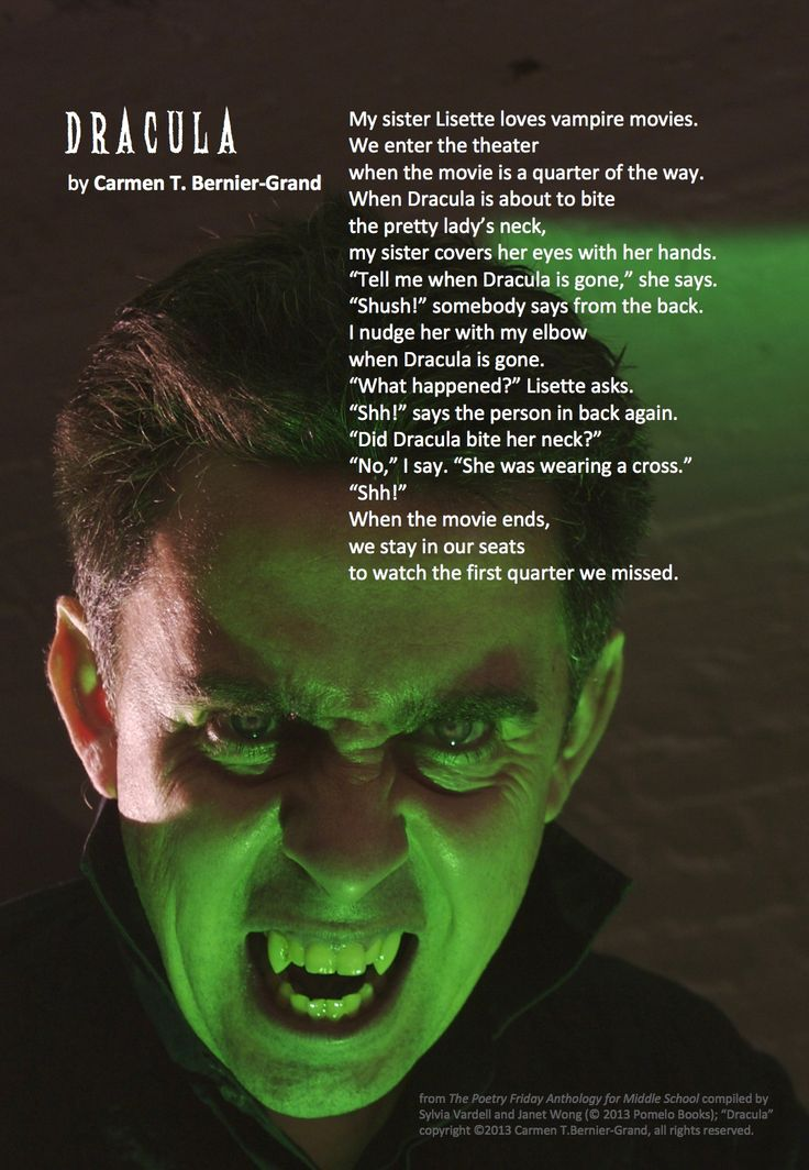 """Share the poem, """"Dracula,"""" by Carmen T. Bernier-Grand from THE POETRY FRIDAY ANTHOLOGY® FOR MIDDLE SCHOOL compiled by Sylvia Vardell & Janet Wong (Pomelo Books, 2013)"""