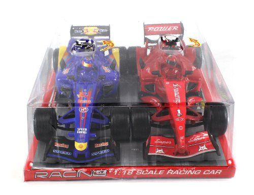 """Twin Racing Ultrasonic Formula One Battery Operated Friction Toy Car Combo Set, Comes with 2 Cars 1:18 Scale Ready To Run w/ Lights, Sounds (Colors May Vary). Combo Set of 2 Friction Toy Cars! Car Dimensions, Length: 10"""" Width: 4"""" Height: 2.5"""". Package Includes: Twin Racing Ultrasonic Formula One Battery Operated Friction Toy Car Combo Set. Each Car Requires 3 LR44 Batteries to run (Included). Features: Battery Operated. Flashing Lights & Sounds! Manufacturer minimun age: 36 months."""