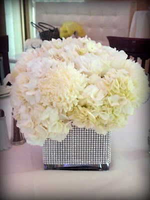 All White Floral with a Bling Vase  www.KingLilyFloralNY.com