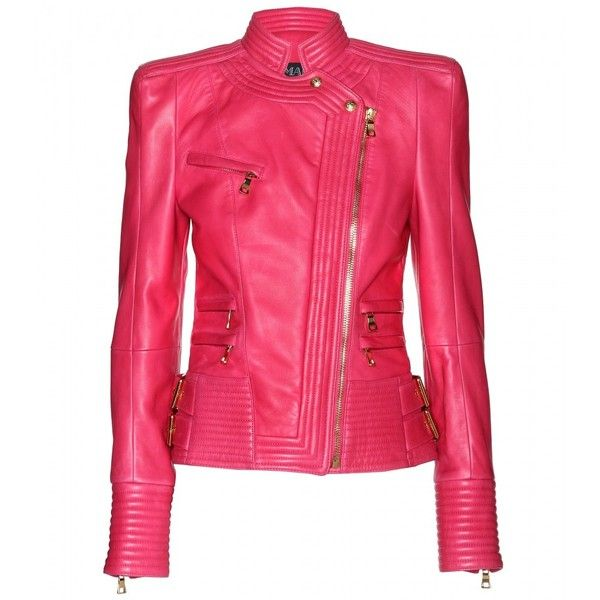 Balmain Leather Jacket (5 060 AUD) ❤ liked on Polyvore featuring outerwear, jackets, coats, tops, fuchsia, zip jacket, pink jacket, balmain, belted jacket and real leather jacket