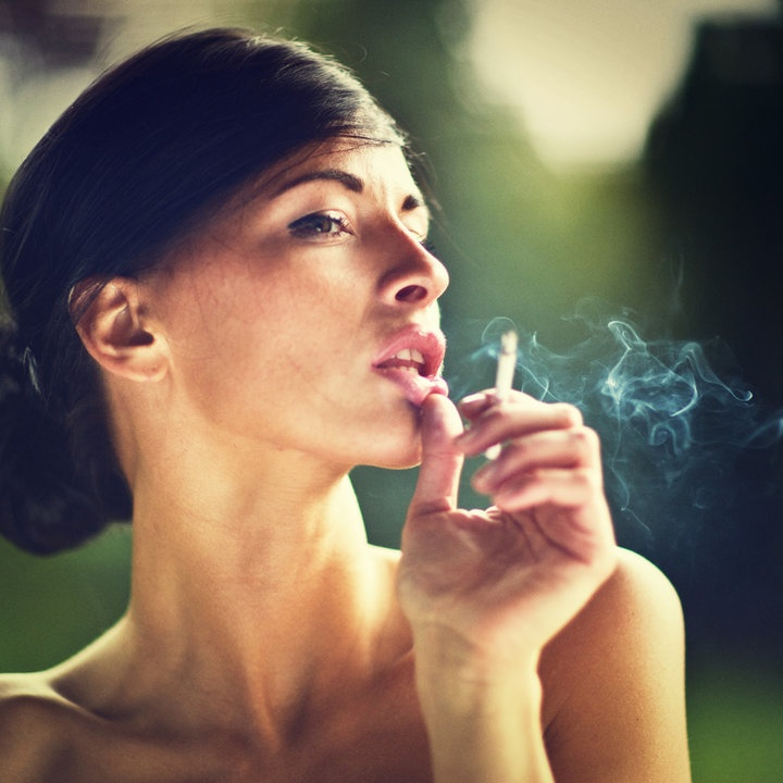 smoking woman, portrait, color