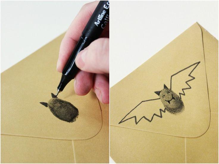 Fledermaus mit Fingerabdruck und Fineliner zeichnen