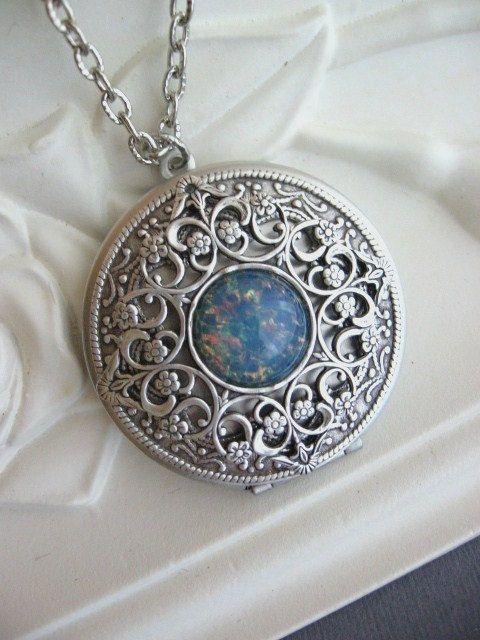 Silver Locket Necklace Celtic Knot LOCKET Celtic by CharmedValley