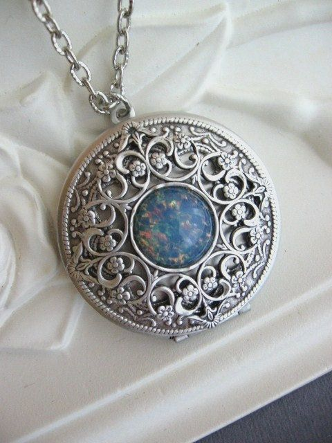 Silver Locket Necklace Celtic Knot LOCKET Celtic by CharmedValley