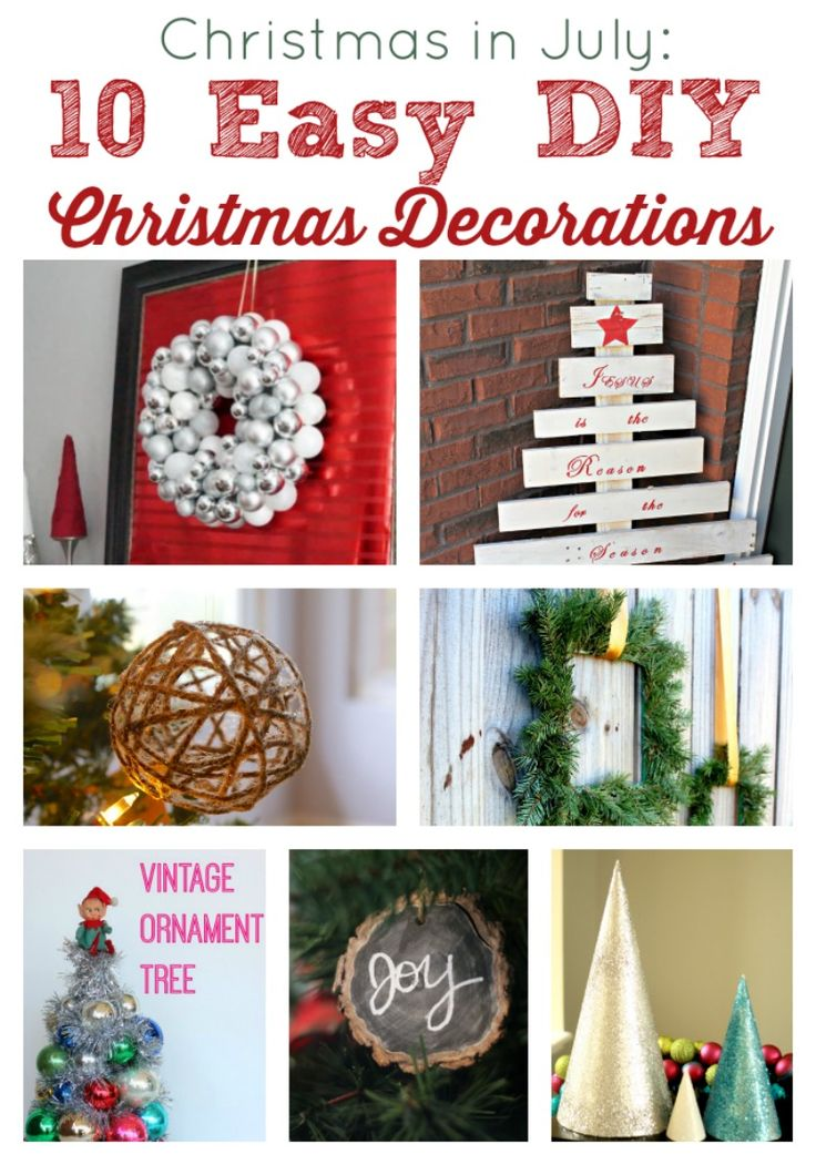 A Christmas in July Round-up of Easy DIY Christmas Decorations so you can plan ahead for this holiday season by Two Purple Couches #christma...