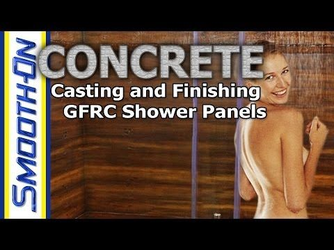 Casting GFRC with Forton VF-774 to create shower panels. Multiple GFRC panels of different sizes and shapes will be made from this single texture mat mold to produce furniture, countertops and more.