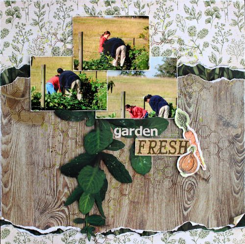 'Garden Fresh' layout by Cathy Cafun Design Team for Kaisercraft using 'Bon Apetit' collection - via Wendy Schultz ~ Scrapbook layouts.
