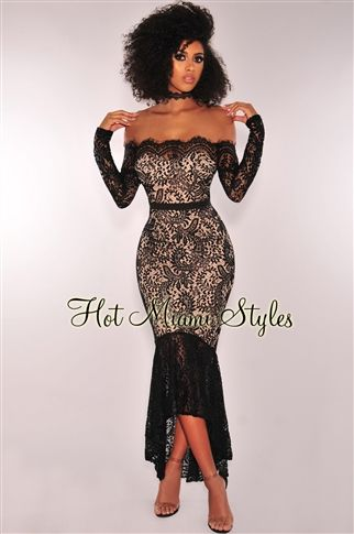 f720ded6d13 Black Lace Nude Illusion Off Shoulder Padded Mermaid Maxi Dress in ...