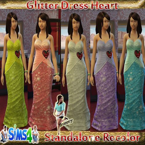 Glitter Dress Heart ( Sims 4) - Sunny´s Sims 4 Kleider Recolors - Sims Dreams