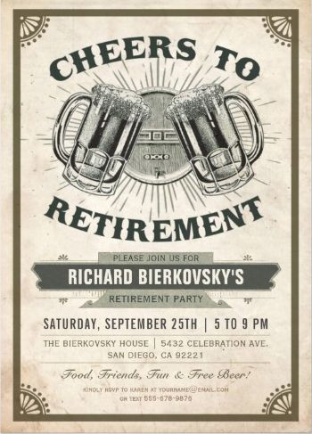 Cheers & Beers Retirement Party Invitations (Vintage) #RetirementInvitations #BBQInvitations #Invitations