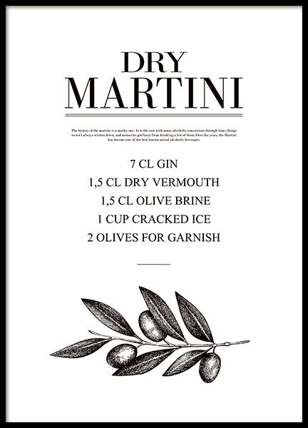 Trendy poster with a Dry Martini recipe, the classic drink that is appreciated by many. Very stylish in the kitchen together with any of our other posters in similar styles. www.desenio.com
