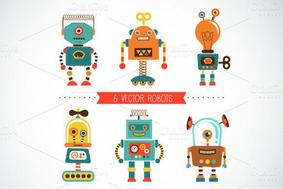 Illustrations ~ Set of 6 vintage robots + pattern ~ Creative Market