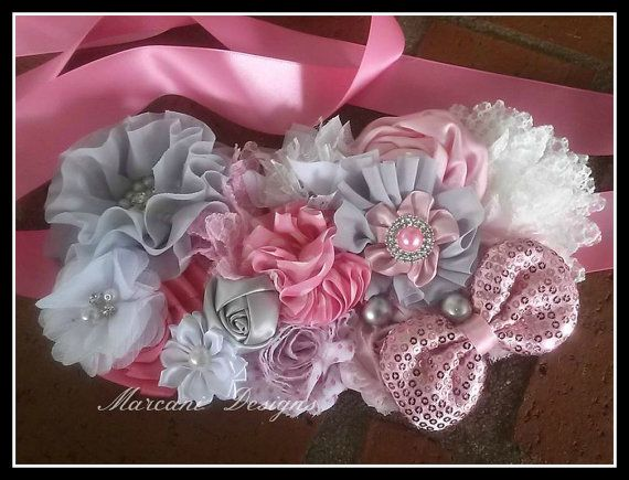 Pretty in Pink Maternity Belly Sash. Bridal by MarcaniDesigns