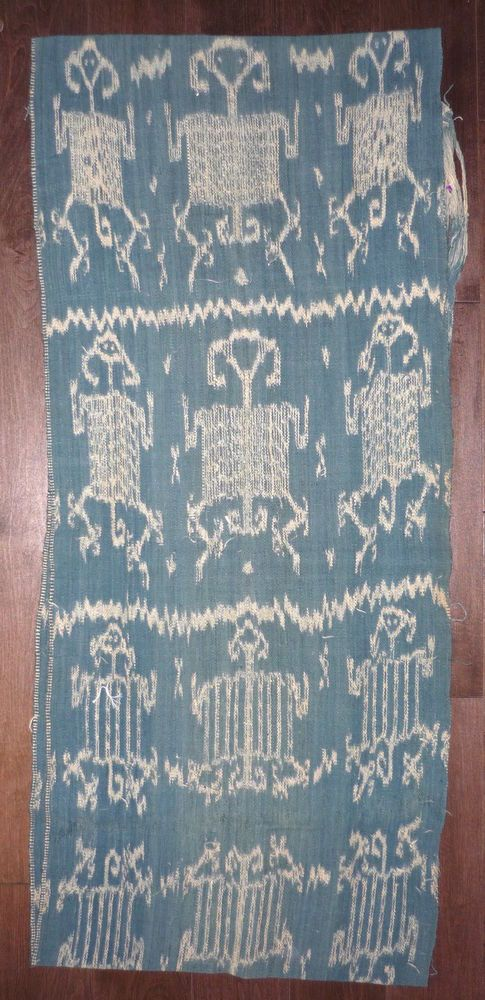 "Old Tribal Textile – Ikat Timor Indonesia – 41"" x 18"" Human Figures"