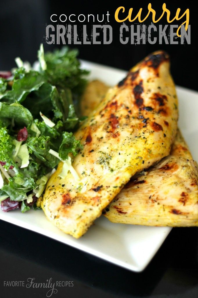 This Coconut Curry Grilled Chicken is one of my new favorite chicken marinades! I love grilled chicken and Indian food so I combined two of my favorites!  Find all our yummy pins at https://www.pinterest.com/favfamilyrecipz/