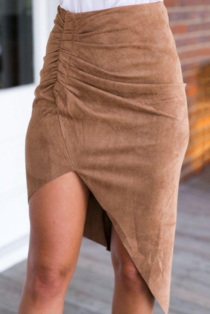 Moda Verão 2016 Mulheres Cor Sólida Cintura Alta Bodycon Midi Saia Com Divisão LC71186 Faldas Saias Faux Camurça Feminino alishoppbrasil