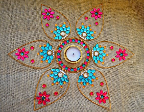 Diwali Rangoli Indian Rangoli Art New Year Party Decor by Likla, $30.00