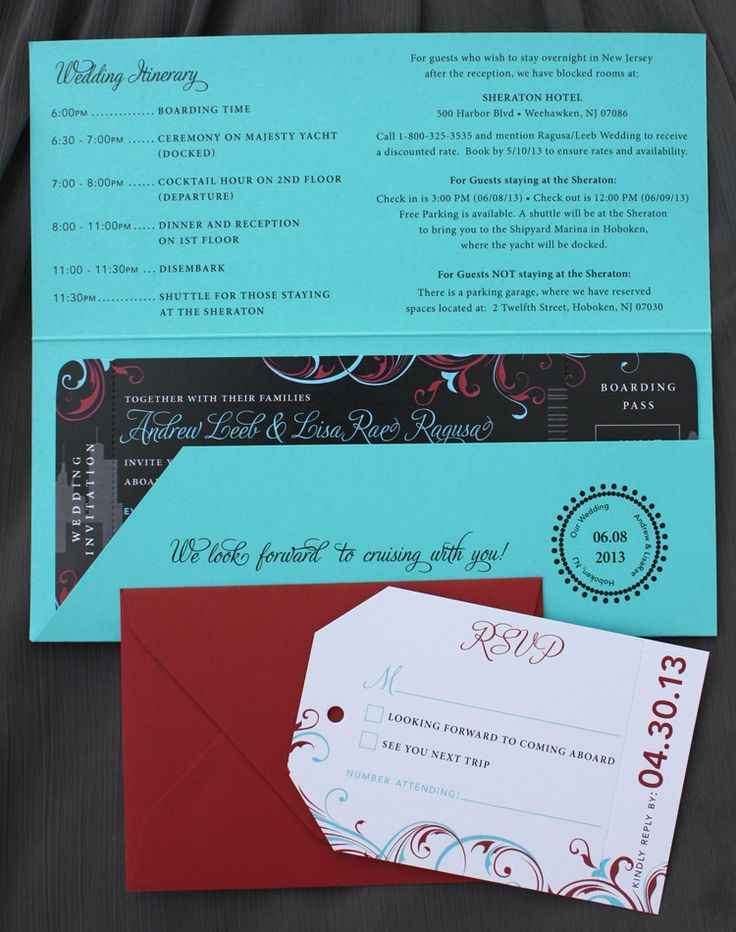 turquoise red gray black new york skyline swirls yacht cruise boarding pass