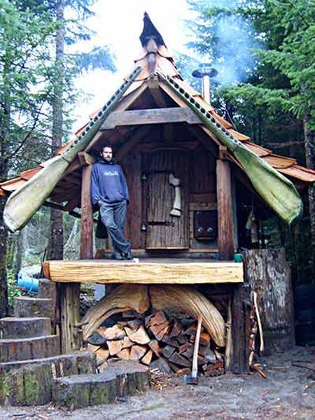 """Best. Sauna. Ever. This beautiful handbuilt structure could double as a tiny hobbit house. """"Looks like whalebone rafters in front,"""" says Lloyd Kahn on his blog. Built by Colin Doane in the Queen Charlotte Islands or Haida Gwaii (""""Islands of the People""""), BC, Canada."""