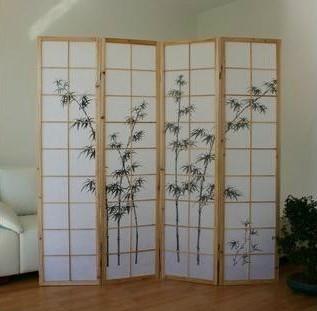 Bamboo Window Shoji Room Divider Screen - Natural - 4 Panel