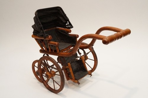 Antique Miniature Baby Doll Stroller Wicker Carriage Iron