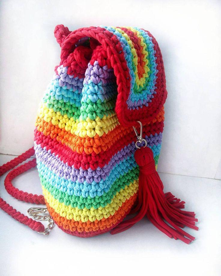 Очень вместительный рюкзачок, лямки регулируются!  #рюкзакназаказ #рюкзак #вязаныйрюкзак #лето #фемилилук #мастхэв #ШтучкиОтТучки #радуга