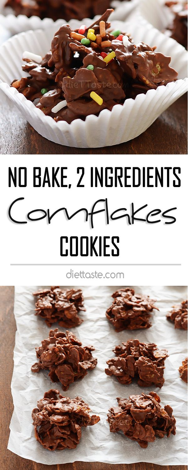 Cornflakes Cookies - the easiest no bake cookies I've ever made; just 2 ingredients and super crunchy - diettaste.com