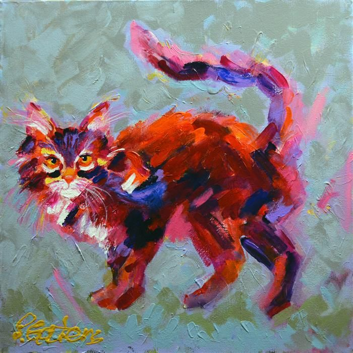 Love this acrylic painting from UGallery. Red Tamale Tabby by Pamela Gatens
