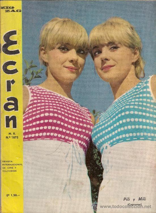 PILI Y MILI portada revista chilena ECRAN 1967 (Música - Revistas, Manuales y Cursos)