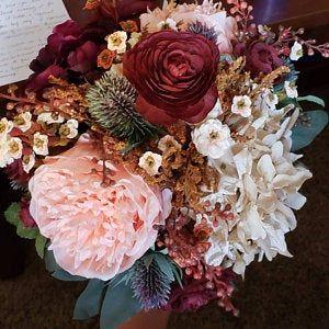 Fall Wedding Bouquet, Purple Bridal Bouquet, Silk Wedding Bouquet, Autumn Bridal Bouquet, Artificial Flower Bouquet, Dusty Rose Bouquet – flower