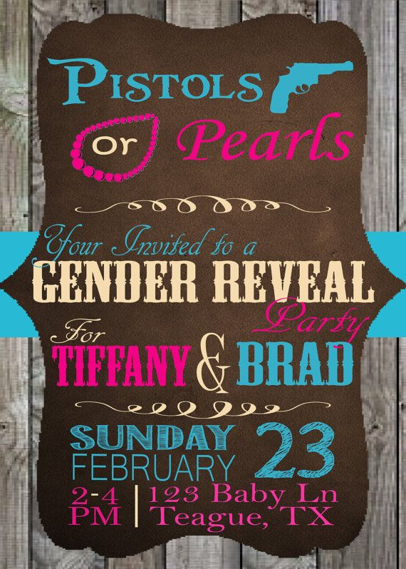 Hey, I found this really awesome Etsy listing at https://www.etsy.com/listing/180133848/pistols-or-pearls-gender-reveals