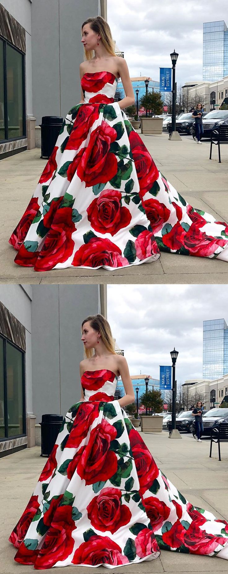 2018 floral long prom dress with pockets, strapless long prom dress, party dress