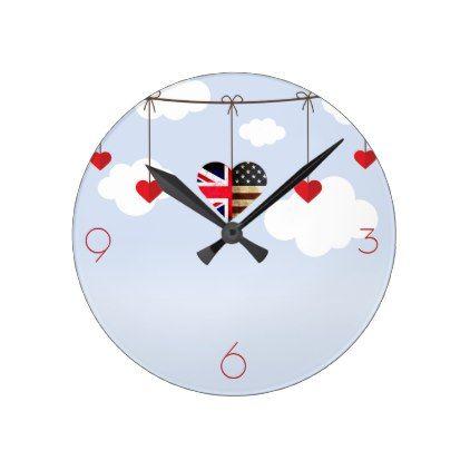 British American Love Hearts Round Clock - wedding decor marriage design diy cyo party idea