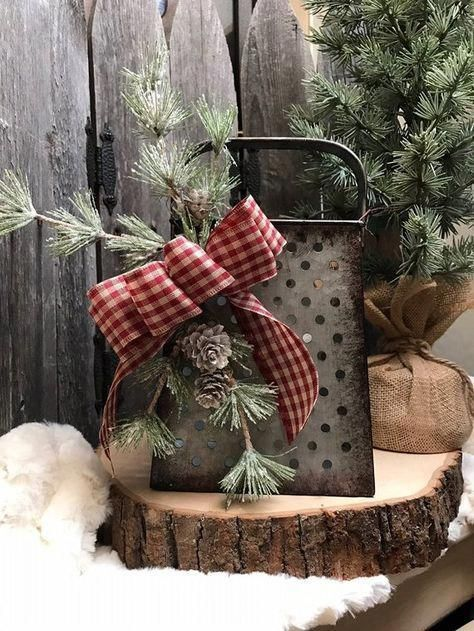 Rustic vintage grater – Holiday decor -pine greenery – red checked bow – Candle holder – primitive –