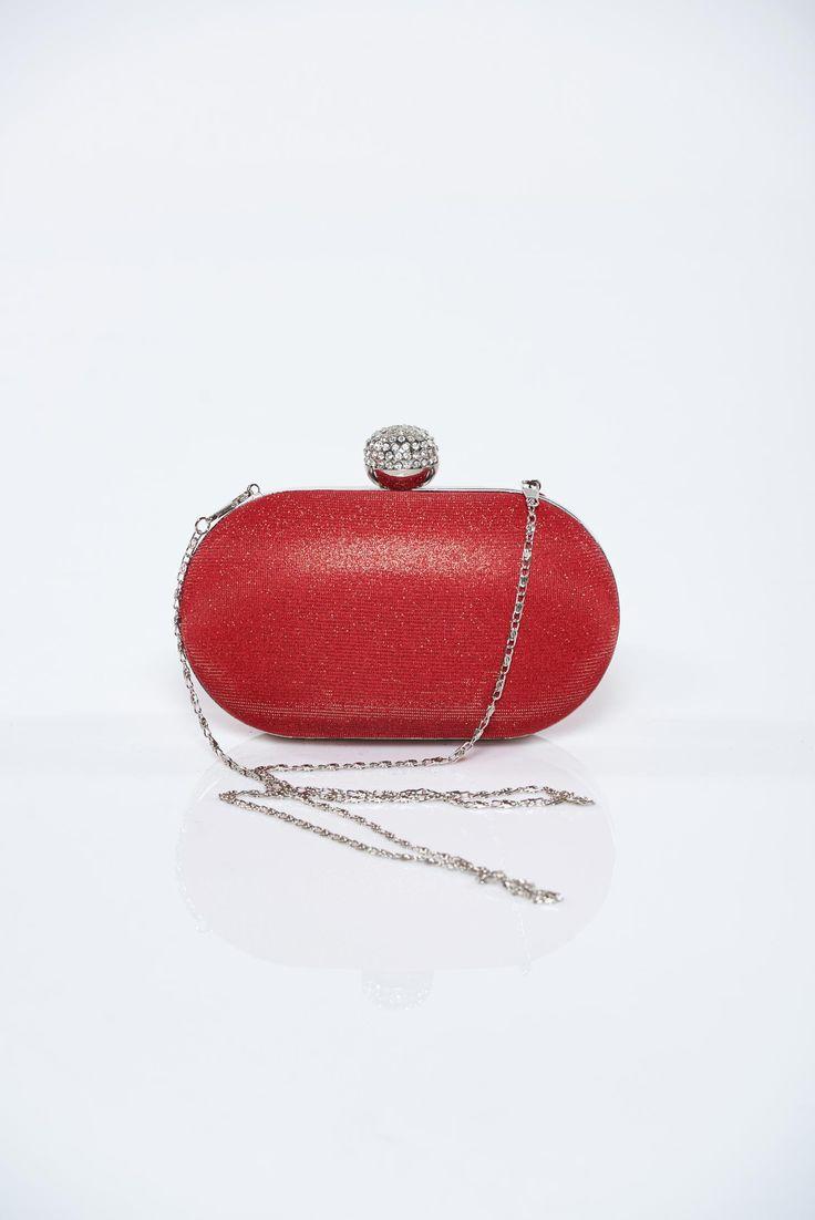 Comanda online, Geanta dama plic rosie cu accesoriu metalic cu aplicatii cu sclipici. Articole masurate, calitate garantata!