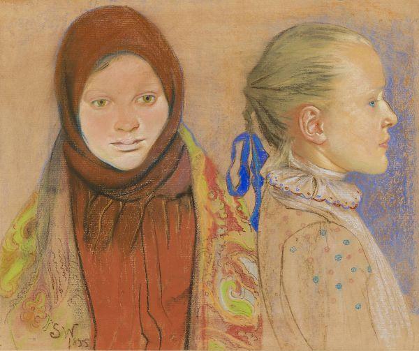 Portret dwóch dziewczynek - Stanisław Wyspiański