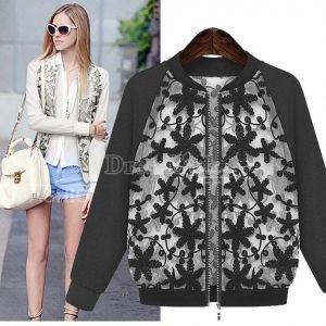 New Women's Fashion Zipper Contrast Sleeve Embroidery Jacket Coat