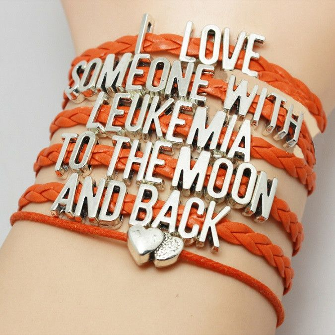 "Beautiful ""I Love Someone With Leukemia To The Moon And Back"" Leukemia Awareness Orange Leather Braided Bracelet. You will get the same bracelet as the pictures, and the letter charms are antique silv"