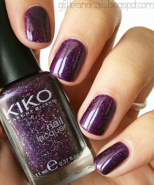 purple glitter nails, I love this color! Major want but never even heard of the brand. Humm