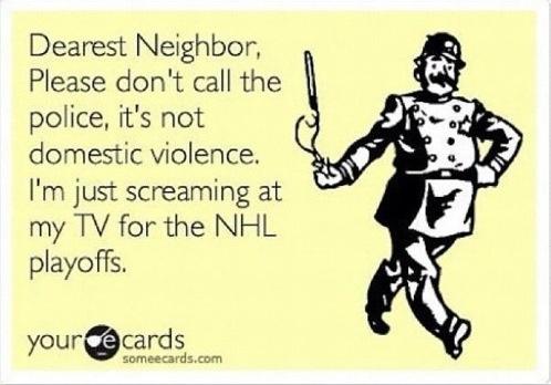 Hockey playoffs funny neighbors