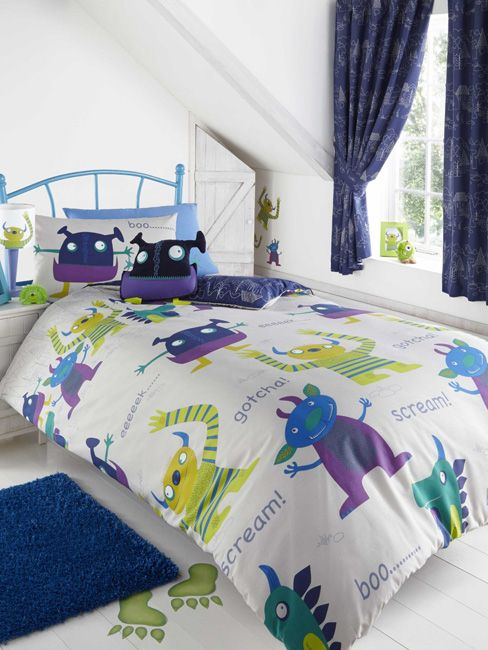 Friendly Monsters Double Duvet Cover and Pillowcase Set - Kids Bedroom