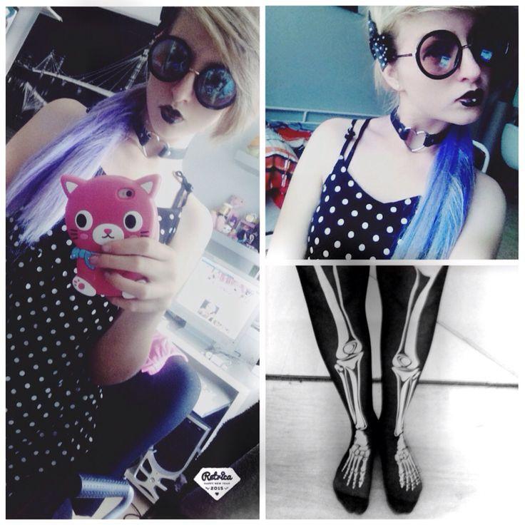 Pastel goth outfit Glasses : tally weil Hair clip : SIX Choker : ebay Thights : ebay Phonecase : ebay Shirt : ?  ChibiMikuXx