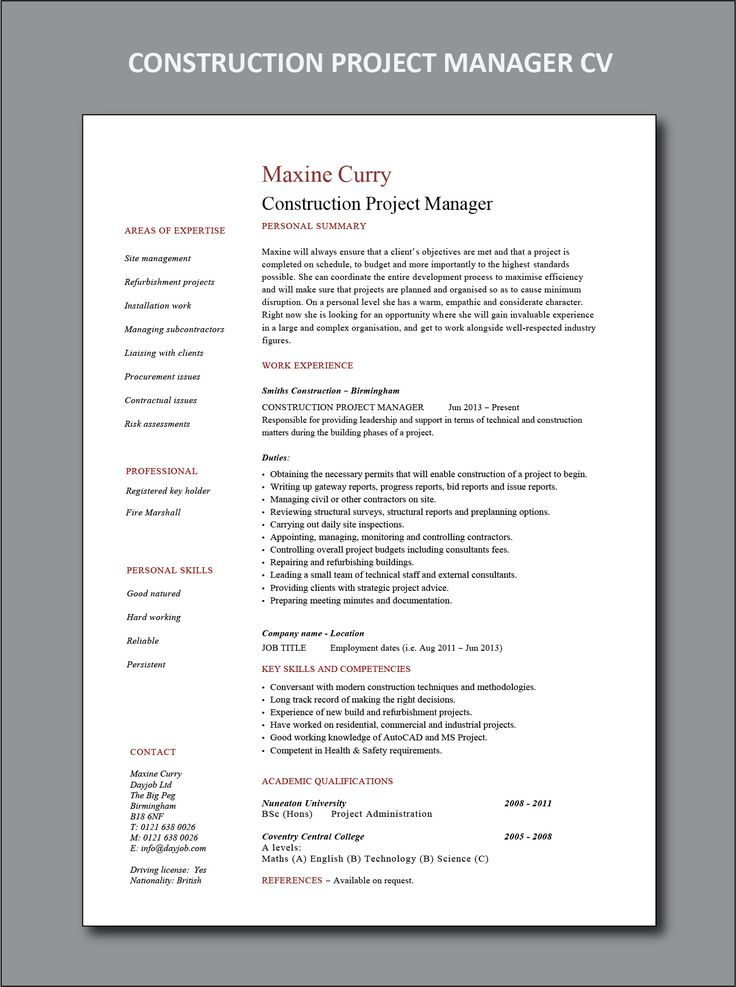 Construction Project Manager CV and resume example