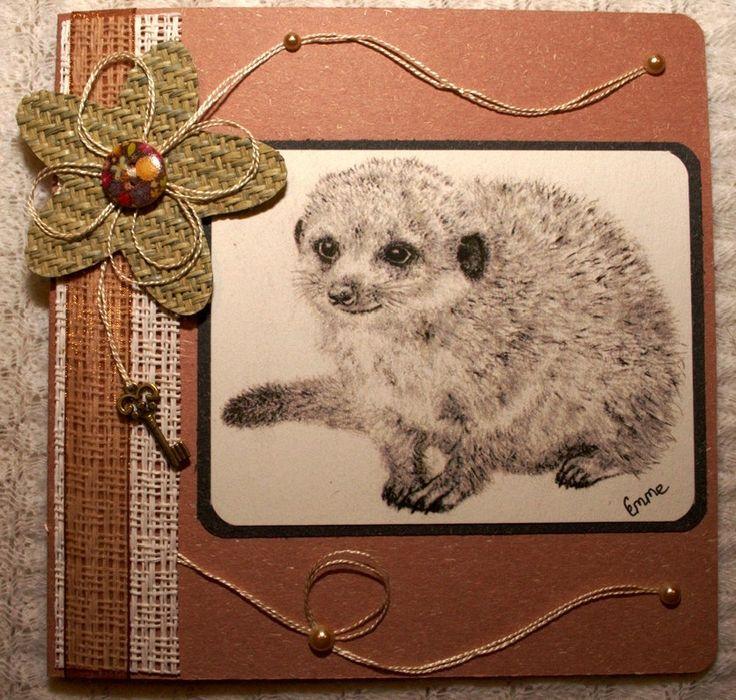 Pencil drawing of cute baby meerkat. Mother's Day Greeting Card. Woven grass flower, ribbon, key charm, Scripture Isaiah 41:10. OOAK.