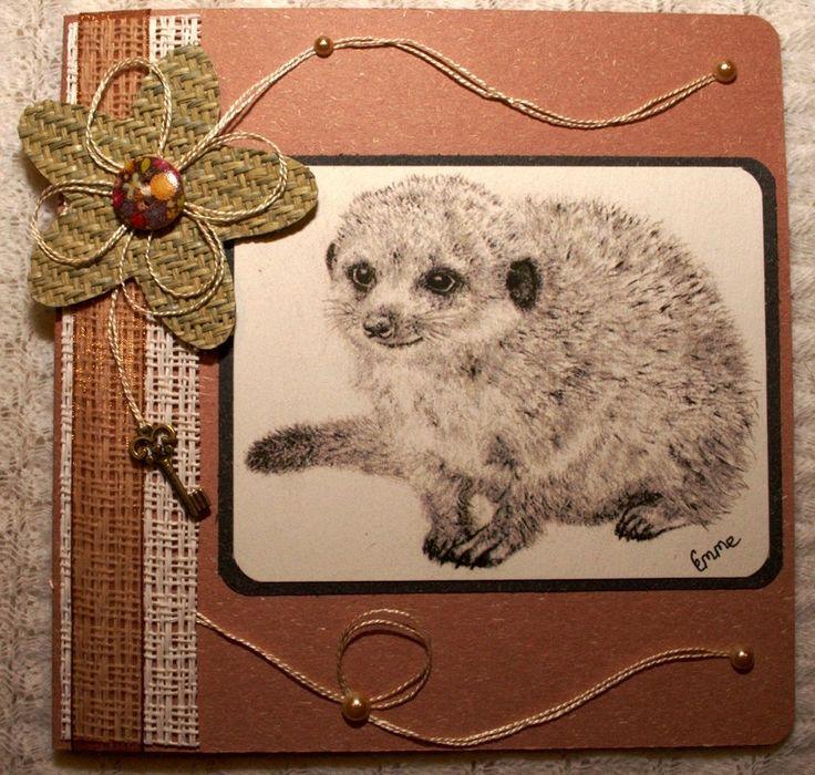 Birthday Greeting Card. Pencil drawing of cute baby meerkat. Woven grass flower, ribbon, key charm, Scripture Isaiah 41:10. OOAK.