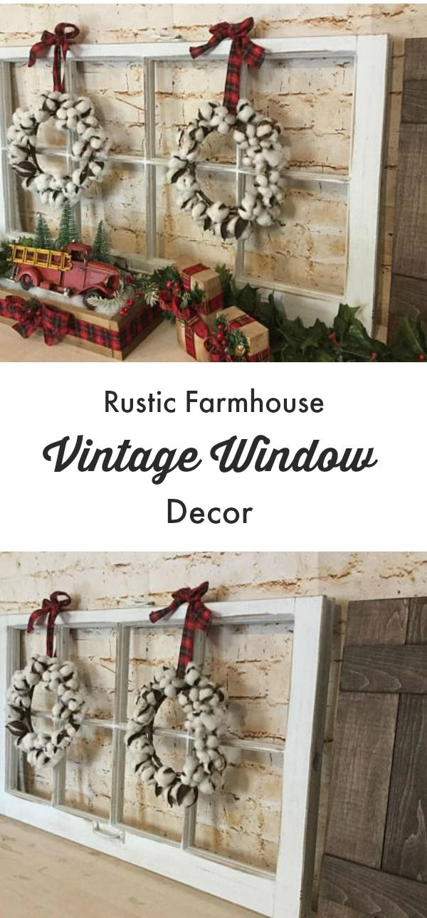 Rustic Farmhouse Vintage Window Decor | I would love this for my mantle | It would be so cute decorated for different seasons all year long #farmhouse #farmhousestyle #farmhousedecor #vintagestyle #vintage #rusticdecor #christmas #christmasdecor #etsy #etsyfinds #affiliatelink