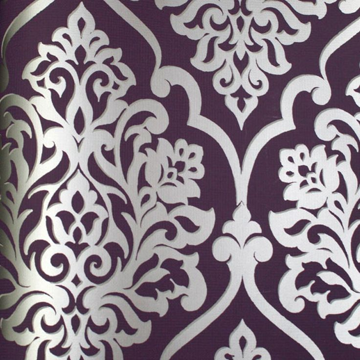 Astek // Mood Living Nino Silver and Purple Damask Wallpaper
