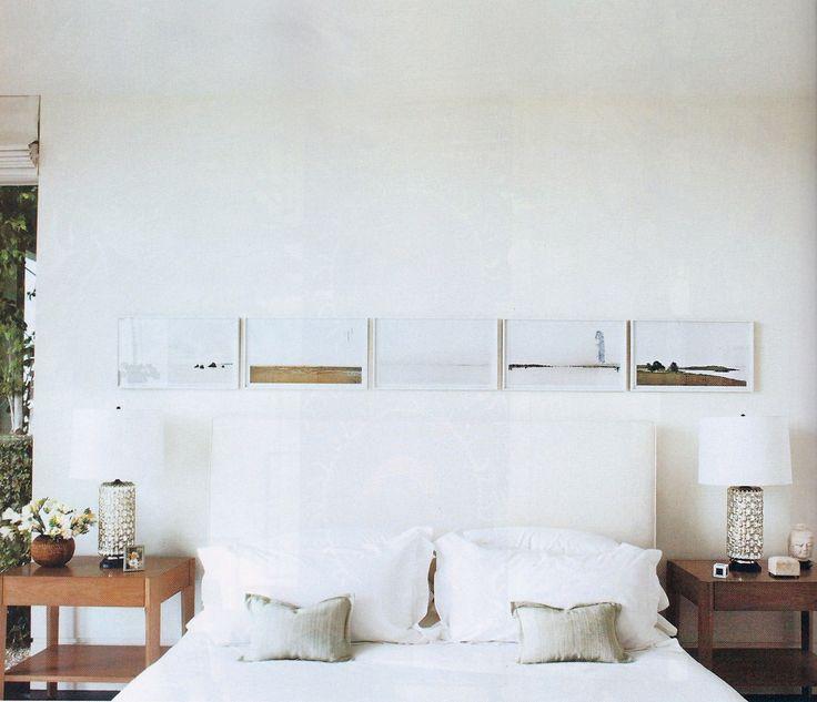 minimal, linear art on walls